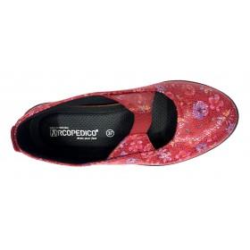 Arcopedico 4671 LEINA F06 Red, rojo, flores, Zapato de Mujer, Lytech, elástico, piso ligero, doble arco y cuña 3 cm