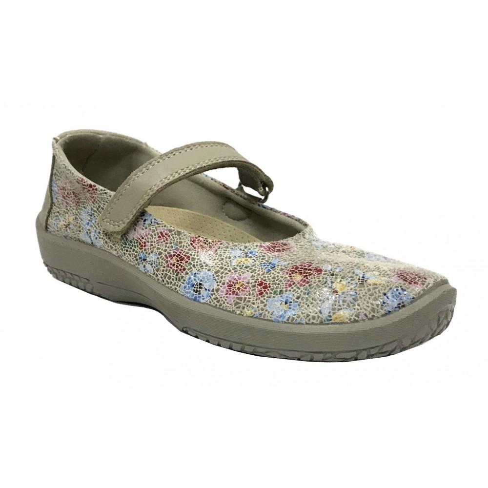 Arcopedico 4043 L45 E97 Taupe, Zapato de Mujer, beig, flores, Lytech, velcro, doble arco, piso ligero y plantilla extraíble
