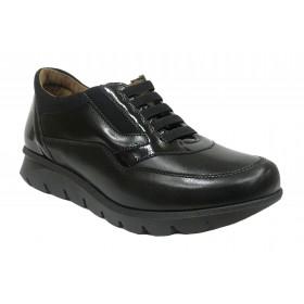 Baerchi 11 52601 Skimo Negro, charol, zapato de mujer, cordones elásticos, piso de goma antideslizante y plantilla extraíble