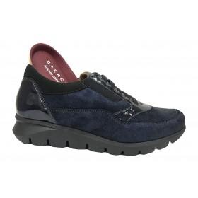 Baerchi 12 52601 Jarma Navy, charol, azul, zapato mujer, cordones elásticos, piso de goma antideslizante y plantilla extraíble