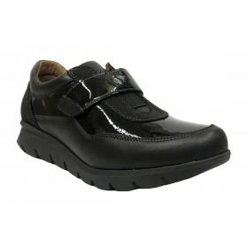 Baerchi 13 52602 Skimo Negro, charol, zapato deportivo mujer, velcro, piso de goma antideslizante y plantilla extraíble