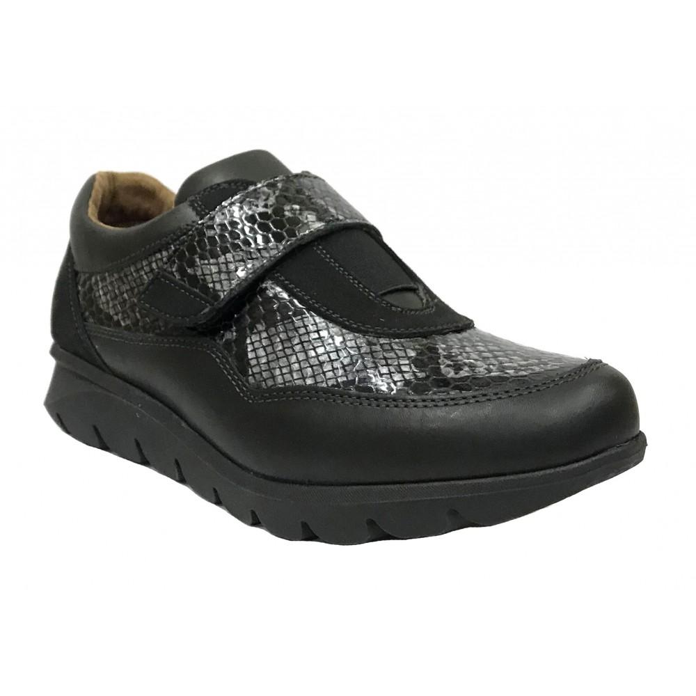 Baerchi 14 52602 Antracita, zapato deportivo de mujer, cierre con velcro, grabado serpiente, piso goma y plantilla extraíble