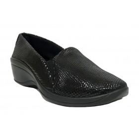 Arcopedico 4693 A08 OPERA Negro, zapato de mujer, lytech, doble arco, cuña alta, elásticos y plantilla extraíble