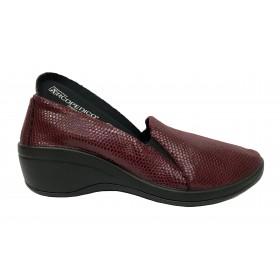 Arcopedico 4693 A09 OPERA Burdeos, zapato de mujer, lytech, doble arco, cuña alta, elásticos y plantilla extraíble