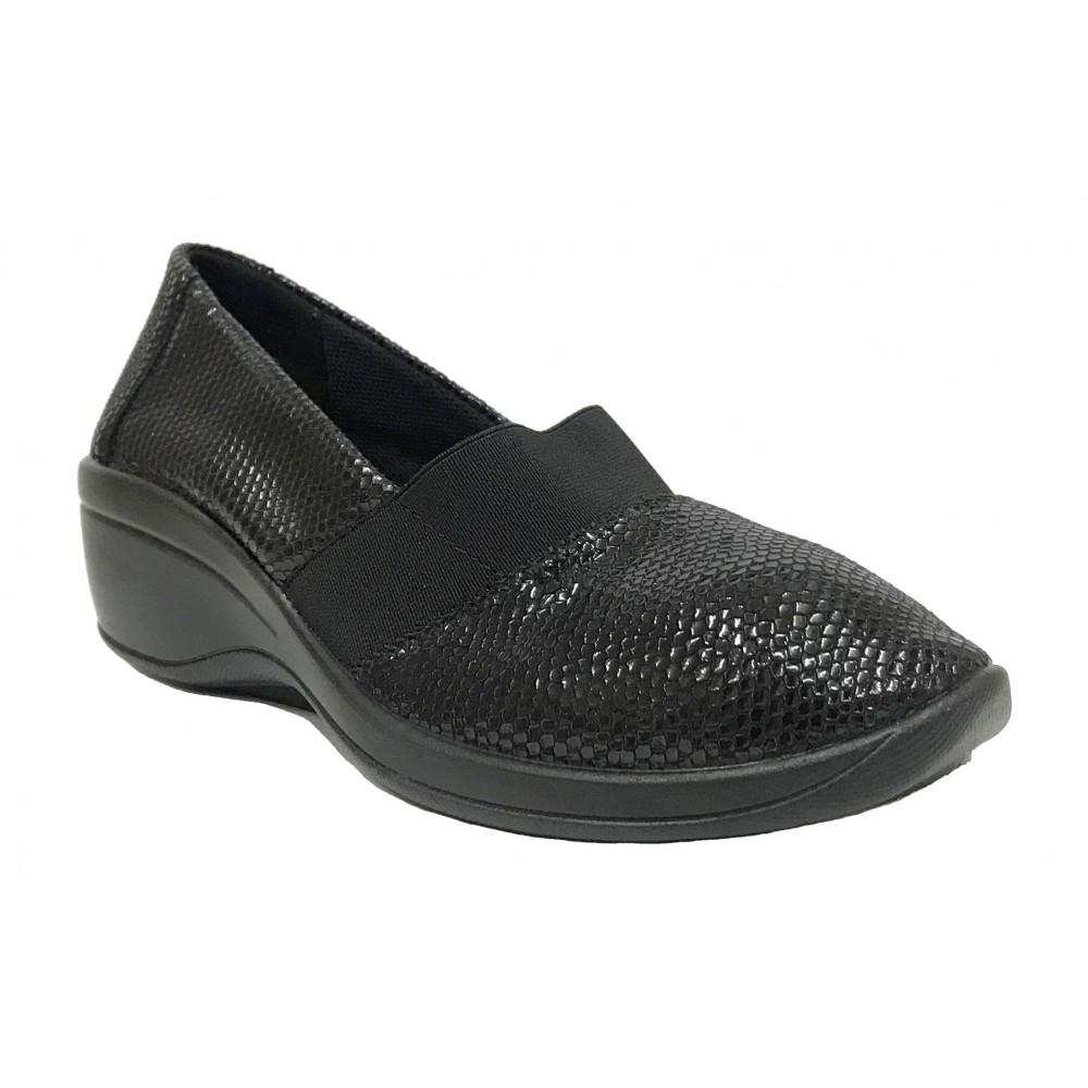 Arcopedico 4184 A08 LUKA Negro, zapato de mujer, lytech, doble arco, cuña alta, elástico y plantilla extraíble