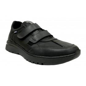 Baerchi 5247 Negro, zapato deportivo de hombre, suela flexible de goma, plantilla extraíble y cierre con velcro