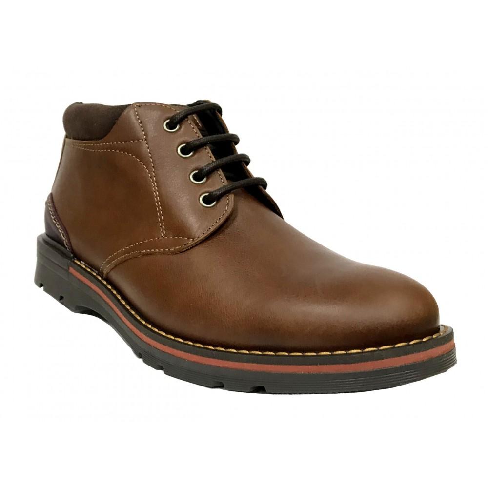 Baerchi 5066 Marrón, botín de hombre, suela flexible de goma, plantilla extraíble y cierre con cordones