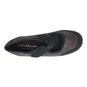 Doctor Cutillas 03 3695 Burdeos, zapatilla mujer, textil, cierre con velcro, cuña y plantilla extraíble