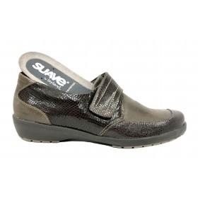 Suave 60A 3010 Coyote Marrón, Zapato de Mujer, cierre con velcro, piso de goma con cuña de 2,5 cm y plantilla extraíble