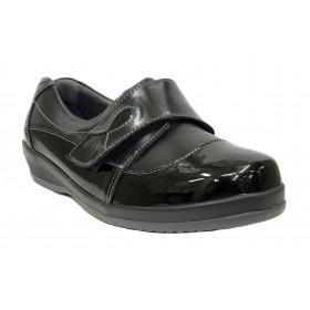 SUAVE 87C 3106 Negro, pie diabético, horma extra ancha, piel y charol, velcro, dos plantillas extraíbles y piso de goma con cuña