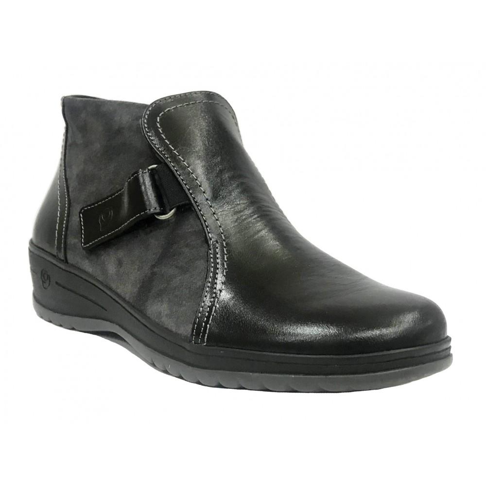 SUAVE 07B 3600 Negro, gris, botín de mujer, dos velcros en laterales, plantilla extraíble y cuña