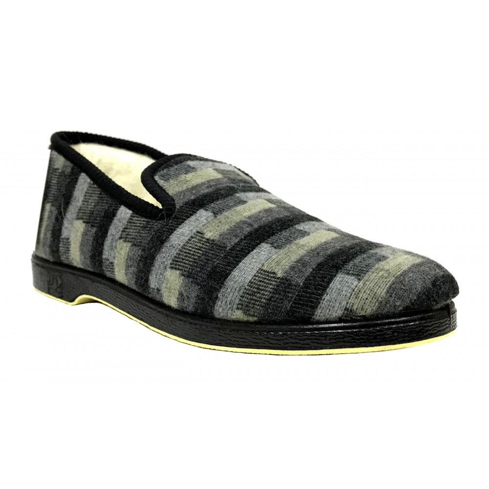 Doctor Cutillas 163 Negro, Zapatilla de casa para Hombre, forro lana, rayas, piso de goma