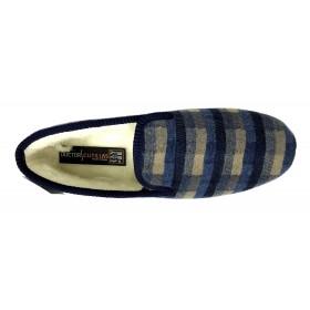 Doctor Cutillas 163 Marino, Zapatilla de casa para Hombre, forro lana, rayas, piso de goma