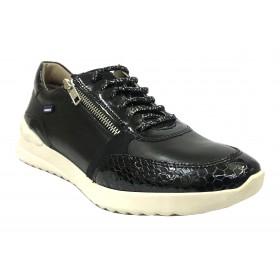 Baerchi 17 55151 Bamba Negro, Zapato de Mujer, deportivo piel, plantilla extraíble, cuña 3,5 cm, cordones y piso de goma