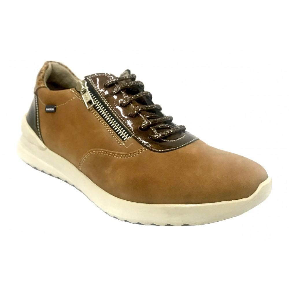 Baerchi 18 55154 Gabon Cuero, Zapato de Mujer, deportivo piel, marrón, plantilla extraíble, cuña 3,5 cm, cordones y piso de goma