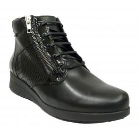Baerchi 01 36316 Cesme Negro, Botín de Mujer, piel, plantilla extraíble, cuña 4 cm, cremallera, cordones y piso de goma