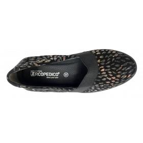 Arcopedico 4184 G99 LUKA Bow Kaki, zapato de mujer, lytech, doble arco, cuña alta, elástico y plantilla extraíble