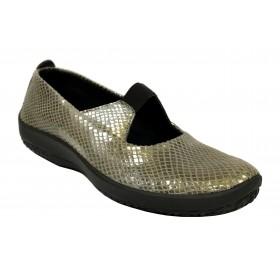 Arcopedico 4671 LEINA SE Nil Grey, dorado, Zapato de Mujer, Lytech, piso ligero, doble arco, plantilla y cuña 3 cm