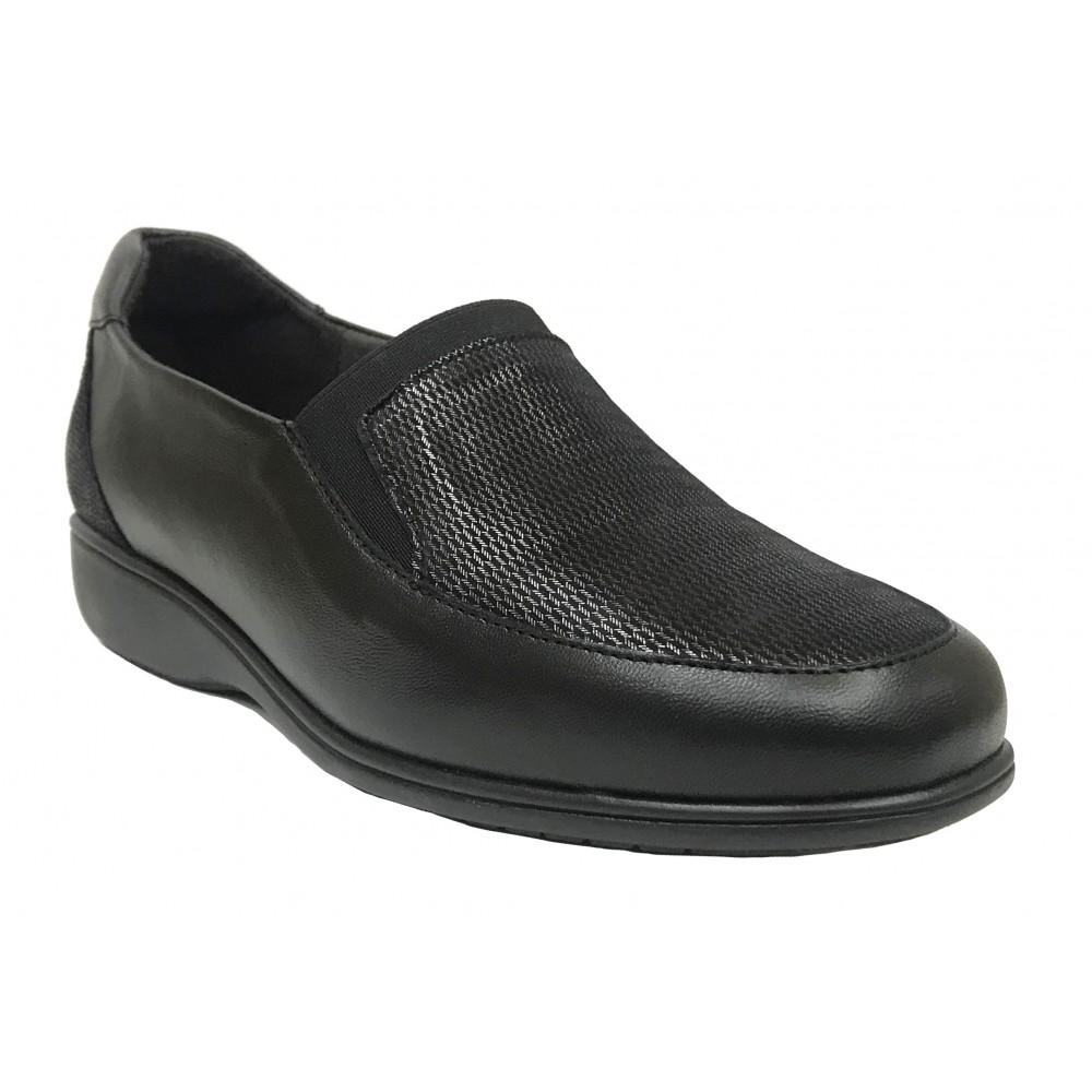 Doctor Cutillas 21A 53561 Negro, zapato de mujer, piel y licra, elástico, piso de goma cuña 3,5 cm y plantilla extraíble