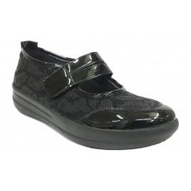 Doctor Cutillas 26A 50715 Negro, Mercedes horma ancha, cierre con velcro, piso ligero, cuña de 4 cm y plantilla extraíble