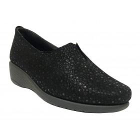 Flex&Go 55C ST0183 Dublín Negro, Brillo, Mocasín de Mujer Básico, cosido, piel suave, con plantilla de piel y cuña de 4 cm