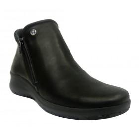 Flex&Go 70 SB0838 Negro, Botín de mujer, piel suave, cierre con cremallera, piso de goma flexible con cuña de 4 cm