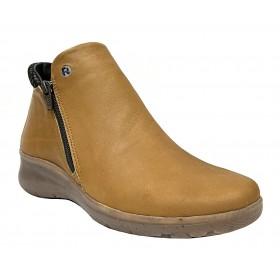 Flex&Go 71 SB0838 Cognac, Botín de mujer, piel suave, cierre con cremallera, piso de goma flexible con cuña de 4 cm