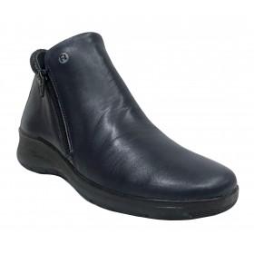 Flex&Go 72 SB0838 Marino, Botín de mujer, piel suave, cierre con cremallera, piso de goma flexible con cuña de 4 cm