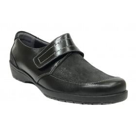 SUAVE 59E 3010 Negro, brillo, zapato mujer, velcro, piel, plantilla extraíble y piso de goma 3 cm