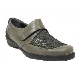 Suave 58 3010 Mink Storm, Zapato de Mujer, cierre con velcro, piso de goma con cuña de 3 cm y plantilla extraíble