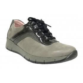 SUAVE 97 3902 Gunmetal Cloudy, gris, piel nubuck, zapato deportivo de mujer, cordones, piso de goma y cuña 3,5 cm