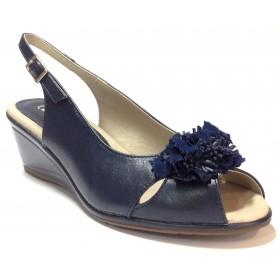 Pitillos 02 1321 sandalia de mujer azul marino flor cuña piso de goma antideslizante, plantilla acolchada, cierre con hebilla