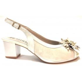 Pitillos 04 1350 sandalia de mujer hielo tacón flor color beige hueso, adorno puntera, cierre con hebilla, plantilla almohadilla