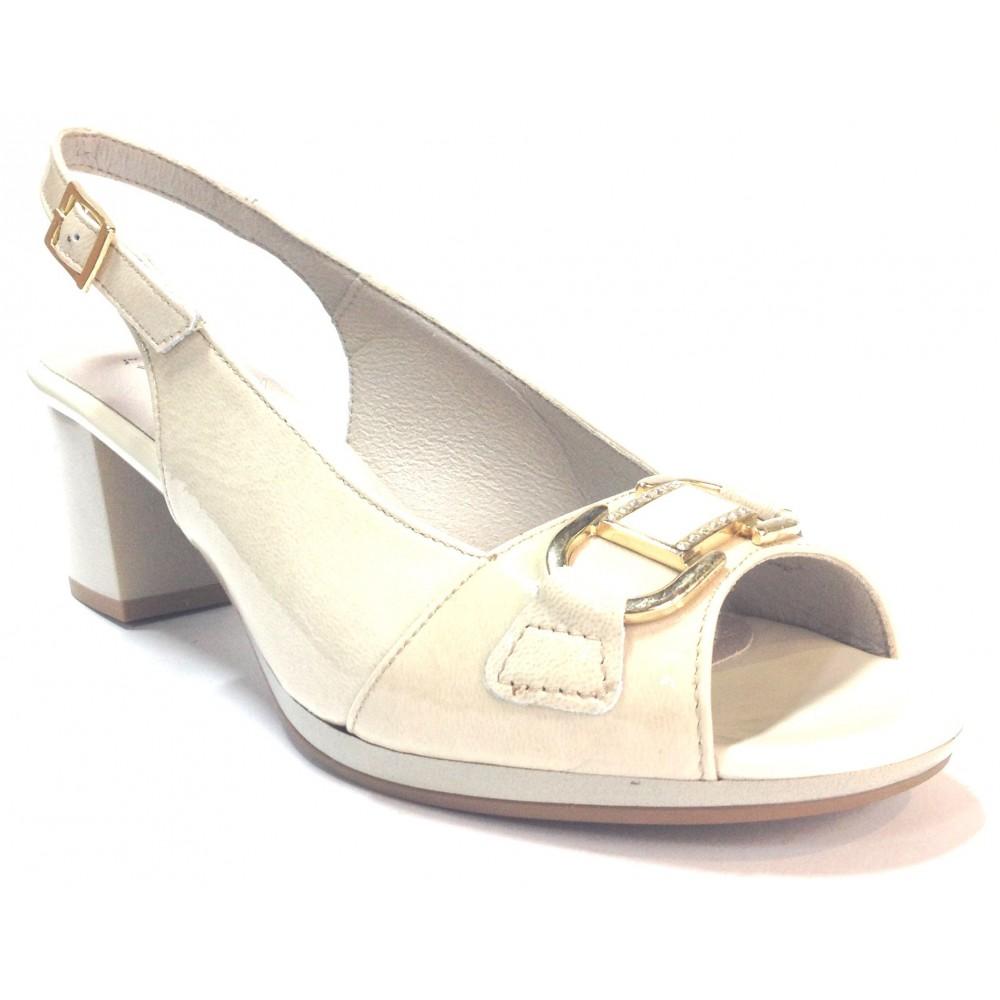 Pitillos 05 1352 sandalia de mujer charol piedra con tacón de 6 centímetros, plataforma, piso de goma antideslizante, adorno met