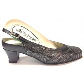 Trebede 01 7590 zapato salón abierto de mujer negro metalizado con tacón de 5,5 cm, ancho especial y plantilla extraíble