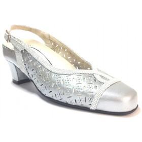 Trebede 02 7592 zapato salón abierto de mujer plata tacón de 5,5 cm, ancho especial, calado, plantilla extraíble
