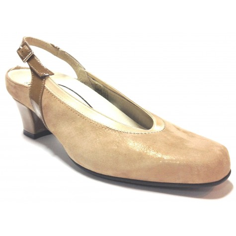 Trebede 03 7599 zapato salón abierto de mujer kafir taupe tacón