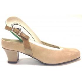 Trebede 03 7599 zapato salón abierto de mujer kafir taupe tacón de 5,5 cm, suela de goma antideslizante, cierre con hebilla, pla