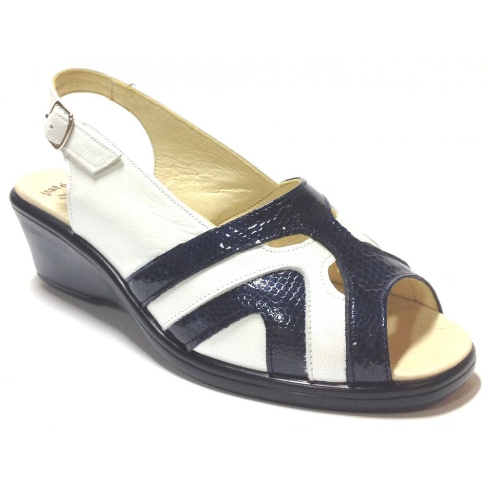 HRAMIS 04 3389  sandalia anatómica de mujer azul blanco piso de poliuretano con cuña y plantilla