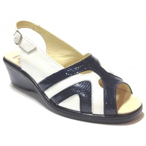 HRAMIS 04 3389  sandalia anatómica de mujer azul blanco