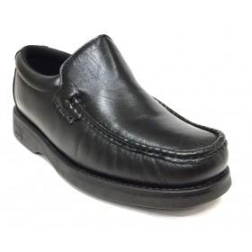 Pinoso's  5614 Kiowa negro ancho 12, forro textil, piso de goma cosido, piel napa cordero, suela microtech