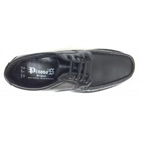 Pinoso's  5605 Kiowa negro ancho 12, forro textil, piso de goma cosido, piel napa cordero, suela microtech, cierre cordones