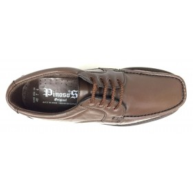 Pinoso's  5605 Kiowa castaño marrón ancho 12, forro textil, piso de goma cosido, piel napa cordero, suela microtech, cordones