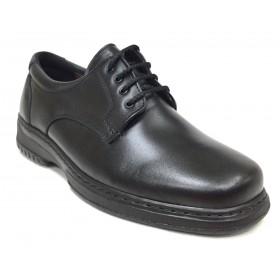 Pinoso's 5975-H pie diabético piel napa cordero de color negro, con cordones, plantilla viscolátex 8mm, piso poliuretano, ancho