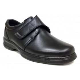 Pinoso's 6176-H pie diabético piel napa cordero de color negro, con cordones, plantilla viscolátex 8mm, piso poliuretano, ancho