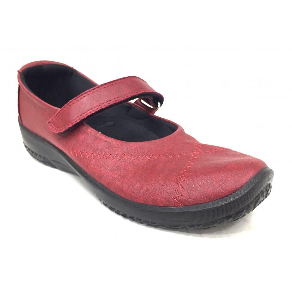 Arcopedico 4271 L18 cherry rojo zapato mujer sport merceditas con plantilla extraíble y cierre velcro, elevación arco, lytech