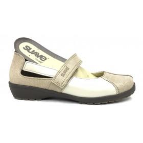 Leyland 36D 3429 Zapato mujer merceditas crema velcro plantilla extraíble
