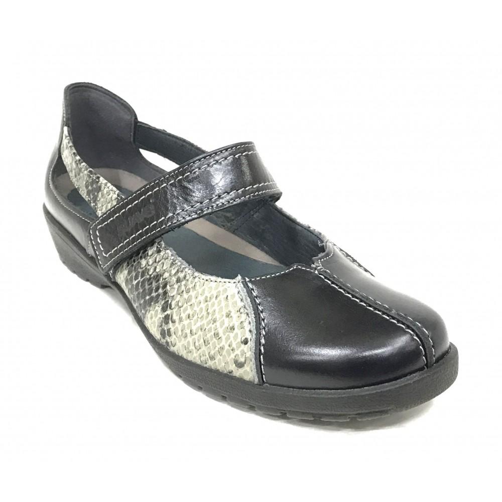Leyland 36N 3429 Zapato mujer merceditas negro velcro plantilla extraíble